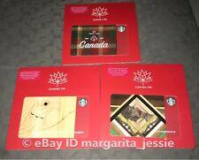 """STARBUCKS GIFT CARD SET OF 3 """"CANADA 150TH"""" Canadian Exclusive NO VALUE 2017 NEW"""