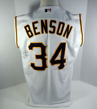 b0060142363 2001 Pittsburgh Pirates Kris Benson Signed  34 Game Issued White Vest Jersey