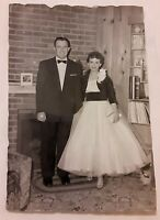 Vintage 1940s Old Photo of Cute Couple Handsome Man Prom Date Huge Dress Fashion