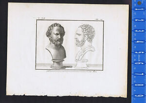 Demosthenes (384-322 BC) Greek statesman - Piroli 1805 Copper Engraving