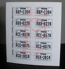 TEXAS CURRENT-STYLE miniature LICENSE PLATES for 1/25 scale MODEL CARS