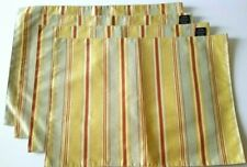 """Rodeo Home Placemats Set of 4 Green Red Gold Striped Brocade Polyester 18"""" x 13"""""""
