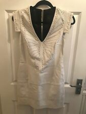 * FRENCH CONNECTION * £ 250 en cuir blanc découpe laser crayon Plongeant Robe UK 6 32