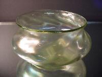 Kralik Art Glass Iridescent Ribbed Twisted Vaseline Bowl Art Nouveau Czech