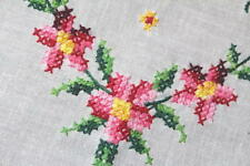 A Flower Wreath Of Pink Daisies! Vtg German Madeira Spring Hand Emb Tablecloth
