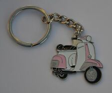 Pink and White Vespa Scooter Mod Enamel Keyring