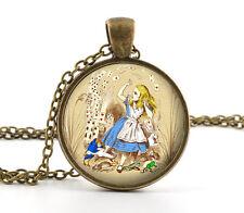 Alice in Wonderland Necklace - Vintage Antique Picture Pendant Jewellery Charm