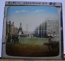 1909 DUBLIN - SACKVILLE Street - SOLDIERS With GUNS Glass Lantern Photo Slide