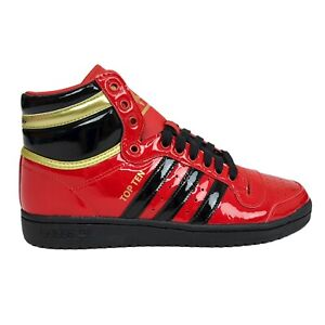 Adidas Mens 8 Top Ten High Scarlet Black Red Sneaker Shoes FV5501 Patent Leather