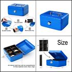 Small Metal Safe Cash Money Box With 2 Security Key Lock and Tray for Kids Blue