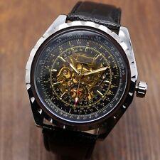 Jaragar Luxury Leather Stainless Steel Case Men Automatic Mechanical Wrist Watch