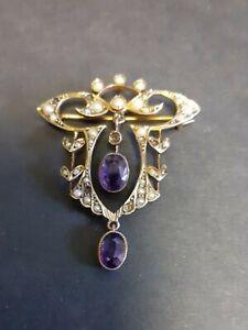 Vintage 9ct Victorian / Edwardian Style Gold Amethyst & Seed Pearl Ladies Brooch