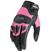 Icon Twenty-Niner Womens Leather/Textile Motorcycle Gloves Pink Small