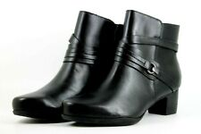 Clarks Rosalyn Page Womens UK 5.5 E Wide Fit Black Leather Ankle Boots - Defects