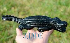 "10"" Natural Dark Green Serpentine Alligator Carving Sculpture Stone Reptile"