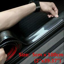 Car Sticker Carbon Fiber Black Rubber Door Scuff Sill Cover Panel Step Protector