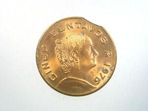 Mexico Mint Error Rim Clipped Planchet 5 Centavos 1976 372# Money Coin