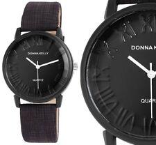 Donna Kelly Damen Armbanduhr Braun/Schwarz Kunstlederarmband