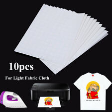 10Pcs A4 Iron On Inkjet Print Heat Press Transfer Paper Light Fabric T-Shirt
