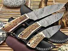 Custom Damascus Hunting Knife Set with Stag Horn Handle - Exotic Edge-USA
