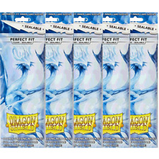 5 Packs Dragon Shield Sealable Perfect Fit Inner Card Sleeves Clear 100ct AT1...