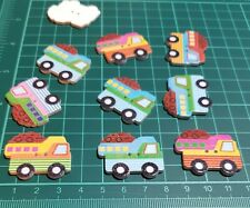 10 Novelty colourful Lorries Wooden Buttons Kids Craft Knitting Toppers Cards