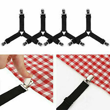 4PCS Bed Sheet Mattress Holder Clips Fastener Grippers Suspender Straps Black