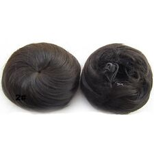 Straight Chignon Drawstring Clip In Hair Bun Donut Updo Cover Hair Extensions