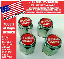 Chrome Ford Mustang Tribute Fastback 429 Red Valve Stem Caps - Nice