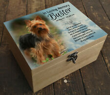 Yorkshire Terrier dog, wooden memorial casket urn, memory keepsake box