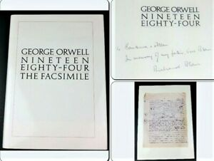George Orwell Nineteen Eighty-Four Facsimile 1984 Signed by Richard Blair Son Of