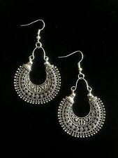 Boucles d'oreilles créoles argent Maroc ethnique Boho Tribal Boho Kuchi A3033
