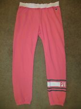 VICTORIA'S SECRET PINK WHITE STRIPE SIGNATURE SKINNY CROPPED SWEATS PANTS NWT S