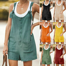 Summer Women Playsuit Cotton Shorts Overalls Linen Dungarees Pocket Jumpsuit