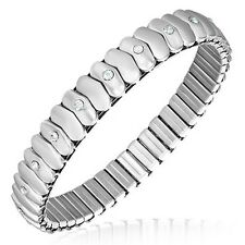 Stainless Steel Silver-Tone White Crystals CZ Stretch Womens Bangle Bracelet