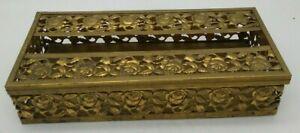 Vintage Brass ROSES Kleenex Tissue Box w/Hinged Cover Victorian Tea Towel Holder