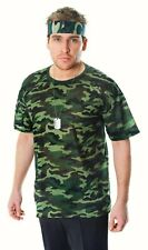 Camouflage Tshirt Top Soldier Army Fancy dress costume Mens t shirt Commando