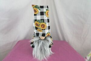 "Black and white Sunflower  Gnomes  Handmade   Gnome  10"" tall"