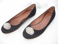 GIUSEPPE ZANOTTI BLACK SATIN CRYSTAL JEWELS SLIP ON FLATS SHOES WOMEN'S 7.5 B