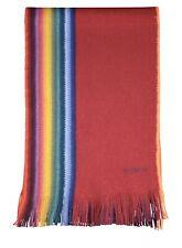 PAUL SMITH Multi Stripe MULTI EDGE Red Wool Scarf Reversible Rainbow New