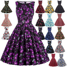 ROCK N ROLL Floral 50s 60s Vintage Dress Retro Swing Pin up Ball Gown Party Prom