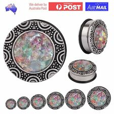 1 PAIR of Opal Tribal Ear Stretcher Plug Earring Ethnic Piercing Tunnel Expander