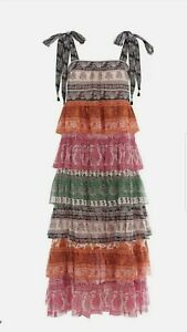 Zimmermann Amari Tiered Tie Dress Spliced, Cotton Silk  Midi  BNWT Size 1 or 10