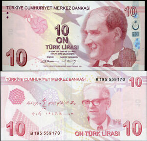 """TURKEY 10 LIRA 2009 (2012) P 223 PREFIX """"B"""" UNC"""
