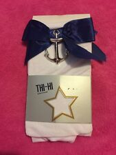 Hot Topic Thi Hi White W Blue Bow With Metal Anchor  One Size