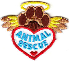 """""""ANIMAL RESCUE"""" - PAWS-DOGS - PETS - CATS - ANIMALS -  Iron On Embroidered Patch"""