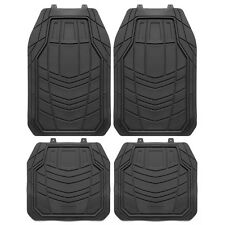 4pcs HD Heavy Duty Car Rubber Floor Mats Full Set Trimmable All Weather Black