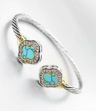GORGEOUS Designer Turquoise CZ Crystals Clover Thin Silver Cable Cuff Bracelet