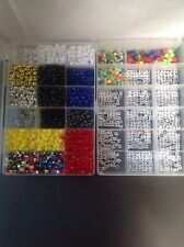 Lot of Loose Multi-Color Mixed Beads + 2 Plastic Boxes Beads Organizer/Storage