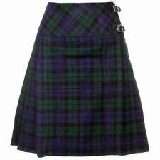 """Black Watch Ladies Knee Length Kilt Skirt 20"""" Length Tartan Pleated Kilts"""
